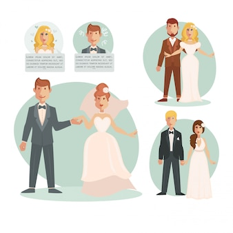 Ilustração de casamento noiva noivo