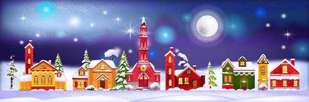 Ilustração de casas de férias de inverno de natal com aldeia noturna em montes de neve, pinheiros, lua