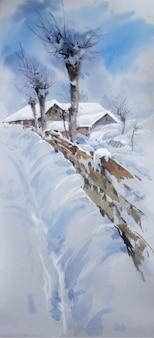 Ilustração de casas e árvores cobertas de neve em aquarela