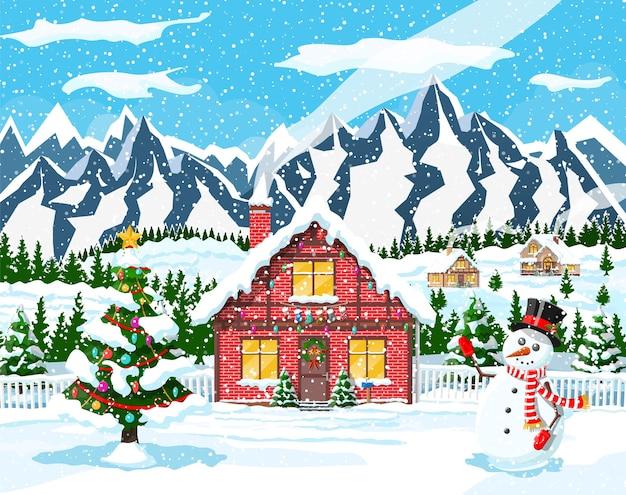 Ilustração de casas suburbanas cobertas de neve