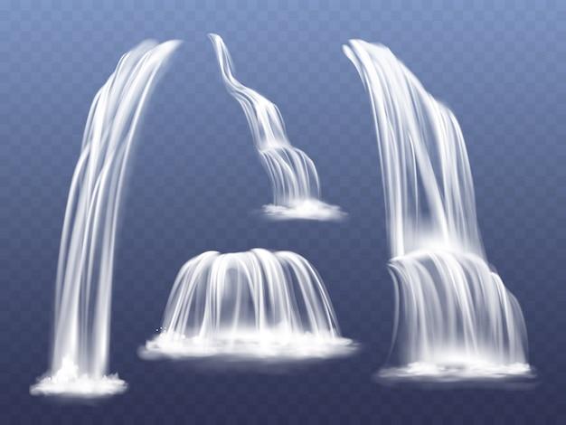 Ilustração de cascata ou cascata de água. conjunto realista isolado de fluxos fluindo caindo