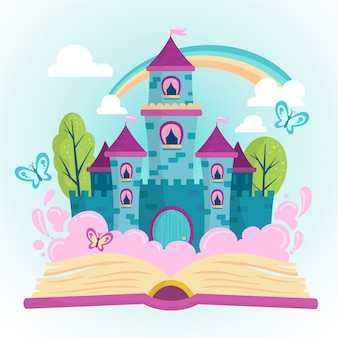 Ilustração de castelo azul conto de fadas