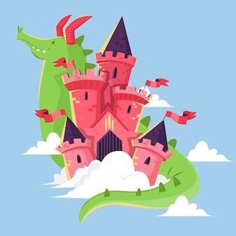 Ilustração de castelo de conto de fadas com dragão