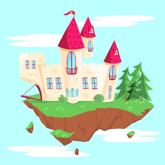 Ilustração de castelo de conto de fadas
