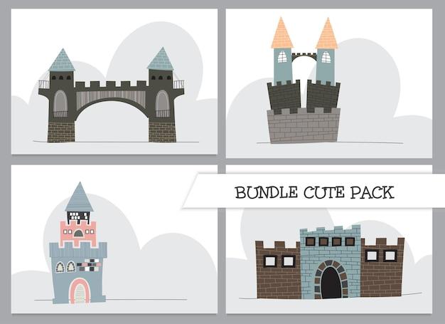 Ilustração de castelo plano de desenho animado de coleção fofa