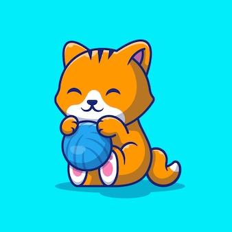 Ilustração de cat playing ball. gato bonito com bola de fios.