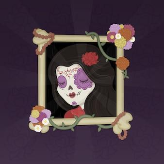 Ilustração de catrina do dia das bruxas