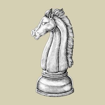 Ilustração de cavaleiro de xadrez desenhados à mão