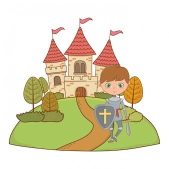 Ilustração de cavaleiro medieval isolado