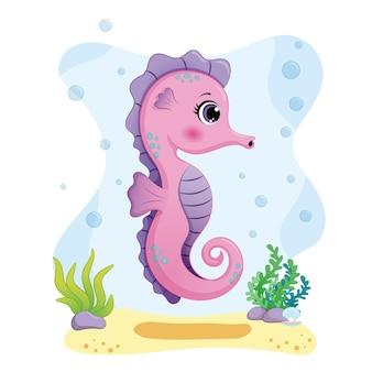 Ilustração de cavalo-marinho fofa