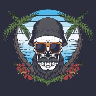 Ilustração de caveira barba bigode praia