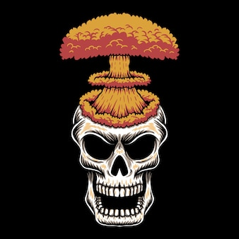 Ilustração de caveira cabeça nuke