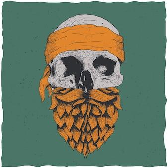 Ilustração de caveira com barba e bandana