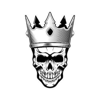 Ilustração de caveira com coroa de rei