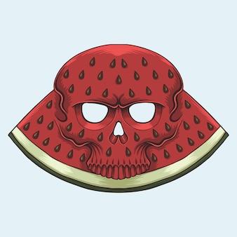 Ilustração de caveira com melancia