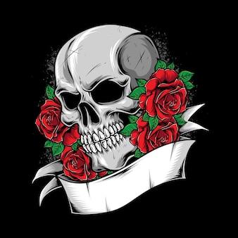 Ilustração de caveira com ornamento de rosas
