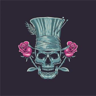 Ilustração de caveira com rosa