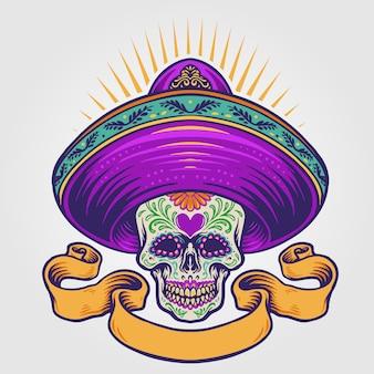 Ilustração de caveira de açúcar mexicano com banner