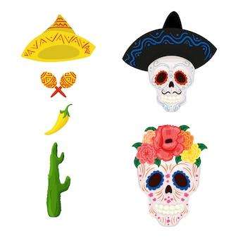 Ilustração de caveira de açúcar mexicano dos desenhos animados e objetos para cinco de mayo
