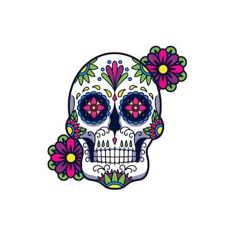 Ilustração de caveira de açúcar, tatto e design de tshirt