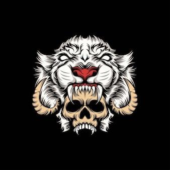 Ilustração de caveira de cabeça e mascote de leão branco