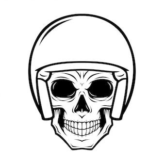 Ilustração de caveira de capacete