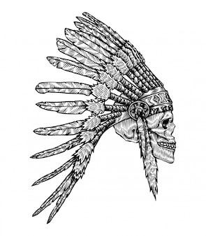 Ilustração de caveira de cocar de tribo indígena