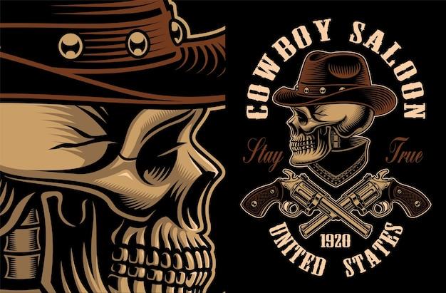 Ilustração de caveira de cowboy com revólveres cruzados. todos os elementos, texto e cores estão em grupos separados.