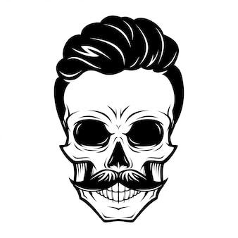 Ilustração de caveira de homens de barbeiro