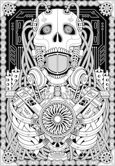 Ilustração de caveira de robô
