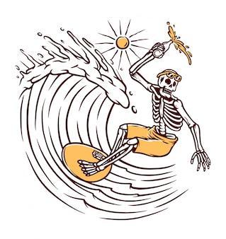 Ilustração de caveira de surf