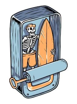 Ilustração de caveira de surfista na lata