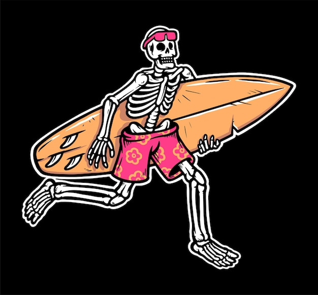 Ilustração de caveira de surfista