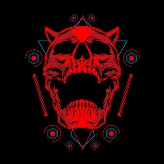 Ilustração de caveira demônio vermelho com geometria sagrada