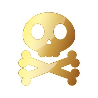 Ilustração de caveira dourada com ossos cruzados