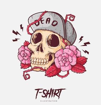 Ilustração de caveira e rosas e design de camiseta