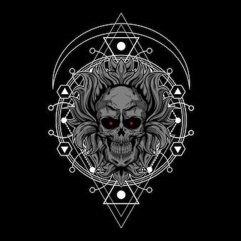 Ilustração de caveira escura com geometria sagrada