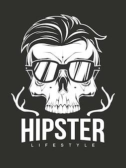 Ilustração de caveira hipster