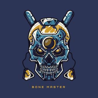 Ilustração de caveira mestre de osso