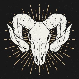 Ilustração de caveira ram. elemento para cartaz, camiseta. ilustração