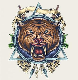 Ilustração de caveira tigre dente de sabre