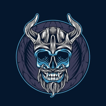 Ilustração de caveira viking