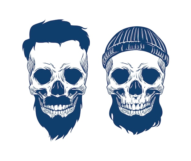 Ilustração de caveiras barbadas em chapéu com corte de cabelo e bigode