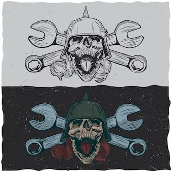 Ilustração de caveiras com capacete e chaves inglesas