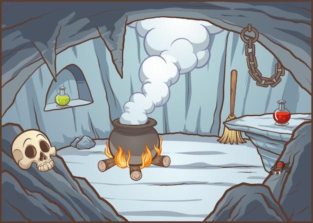 Ilustração de caverna de bruxa