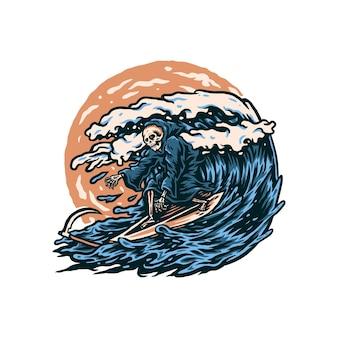 Ilustração de ceifador surfando, desenhado à mão