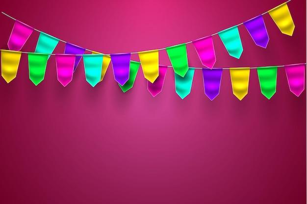 Ilustração de celebração 3d realista de bunting