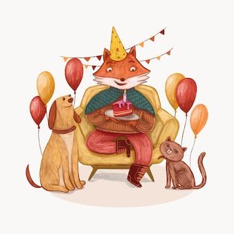 Ilustração de celebração de aniversário de raposa e amigos fofa
