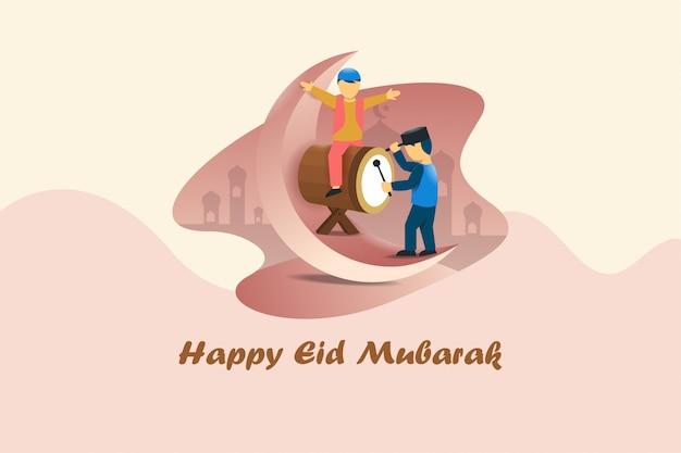 Ilustração de celebração de eid mubarak