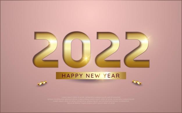 Ilustração de celebração de feliz ano novo. número dourado 2022 com estilo de papel prensado